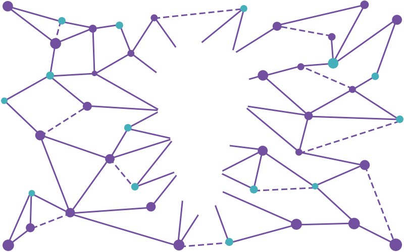 illustration of a lightbulb and a web of nodes