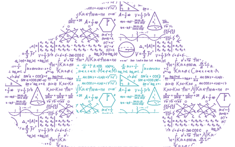 illustration of a laptop and a cloud of mathematical equations